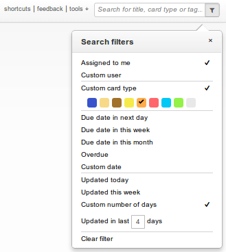 New Kanban board search filters