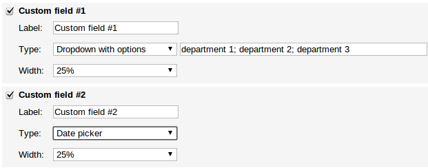 Kanban card template custom field type