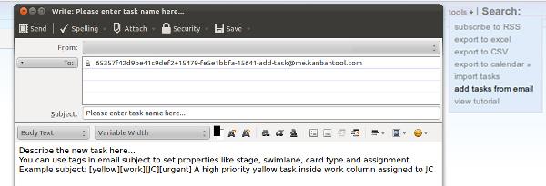 Kanban board email integration