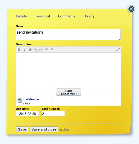 Online Kanban Card for organizing business meeting