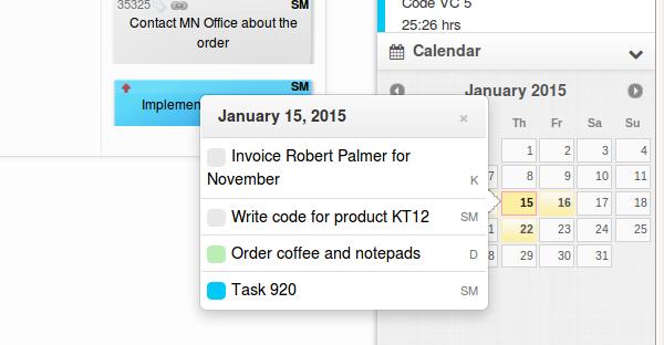 Kanban Tool calendar widget