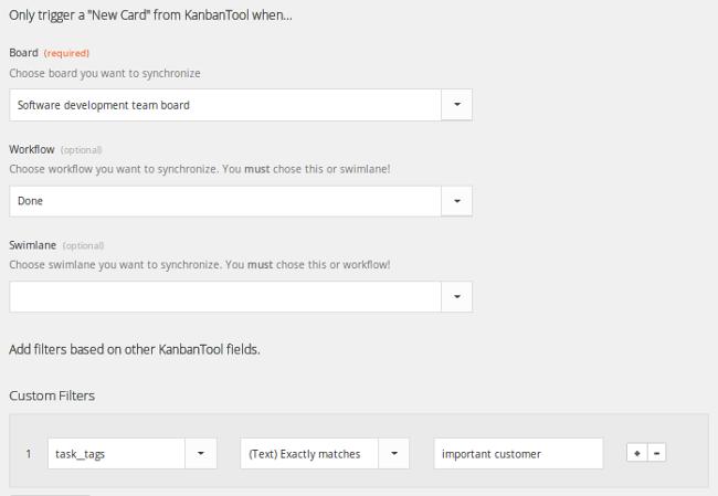 Kanban Tool and Zapier: Filter Kanban Tool triggers