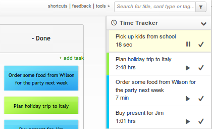 Kanban Tool Time Tracking: Timers list