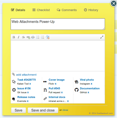 Web Attachments Power-Up in kanbantool.com