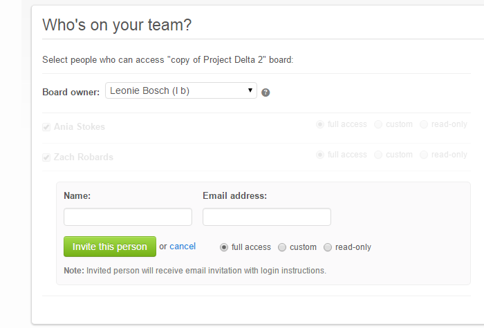 Kanban board access management - set up new user