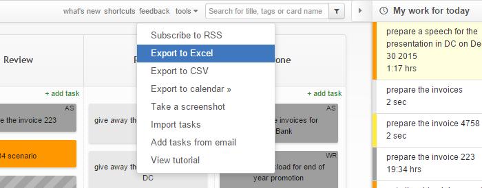 Kanban Tool - Export Tasks to Excel