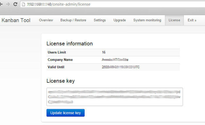 Applying a License Key to the Kanban Tool On-Site installation
