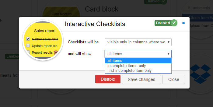 Interactive Checklist Set-up