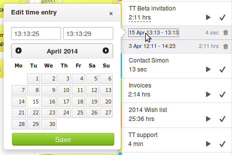 Time tracking - edit time entries