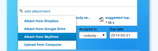 Adding files from SkyDrive to Kanban board card