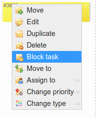 Card blocking on Kanban board