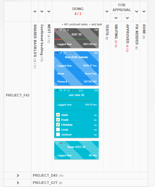 How to make the best out of your online Kanban board - collapsing areas