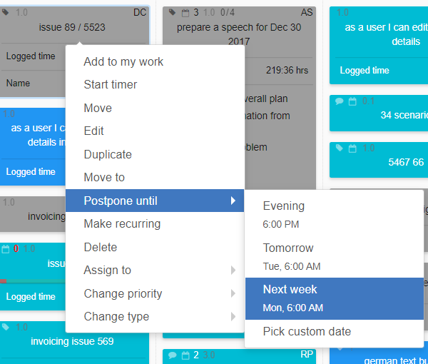 How to make the best out of your online Kanban board - postponed tasks
