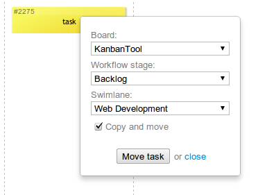 Moving tasks between kanban boards