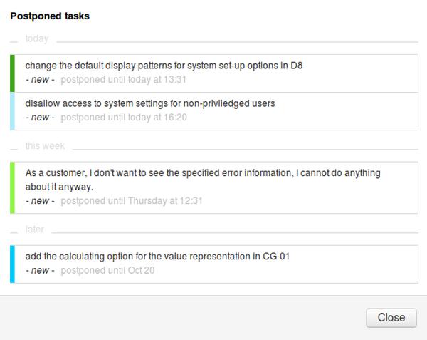 Tasks Postponed in My Work Widget