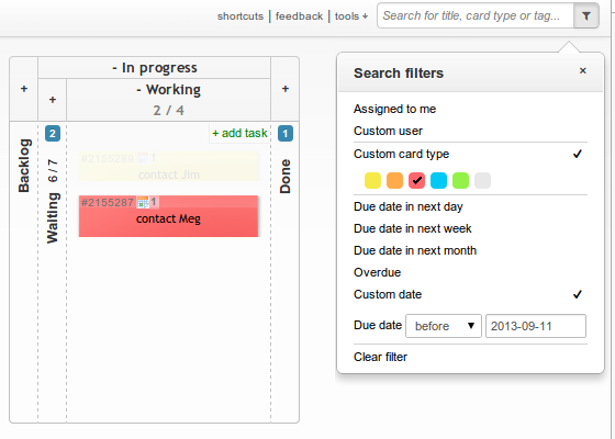 Kanban board search filters