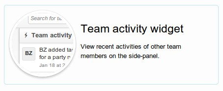 Team activity widget