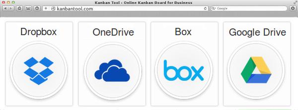 kanban tool google drive dropbox onedrive box integration