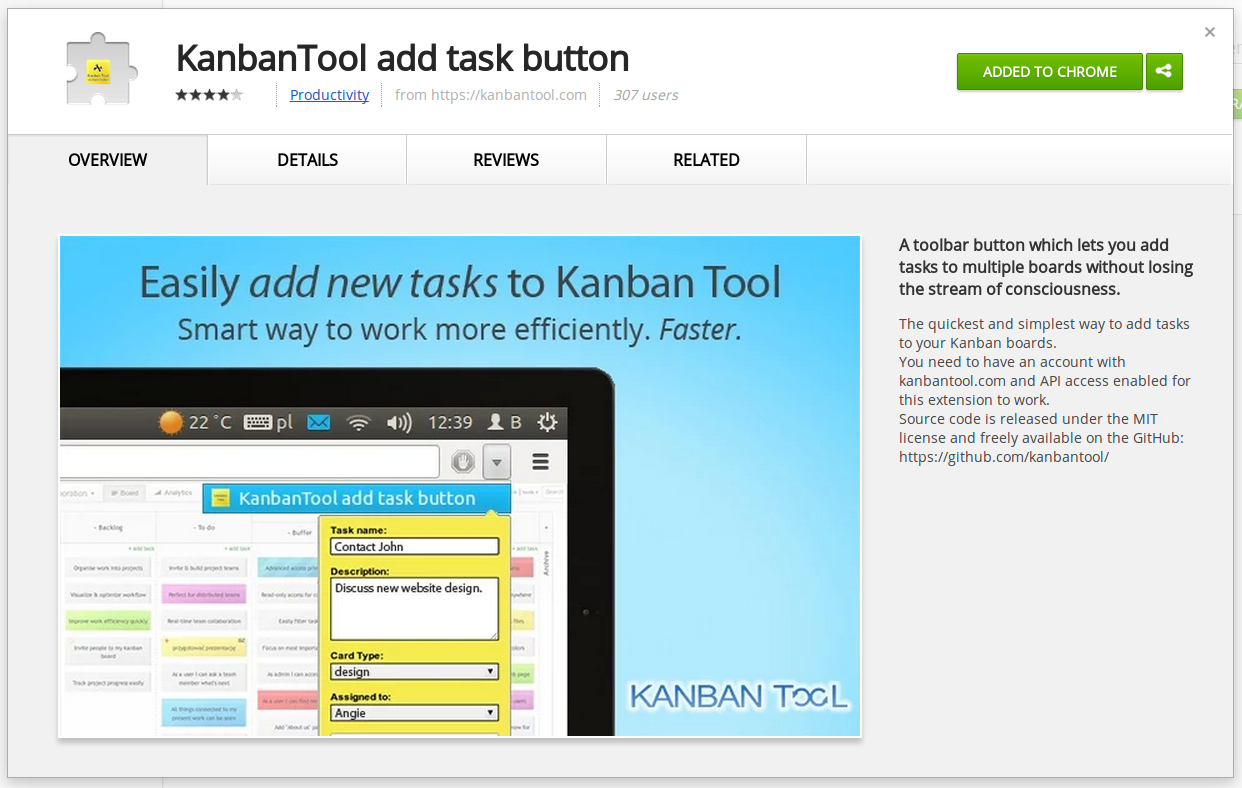Add Task Button Chrome extension for Kanban Tool