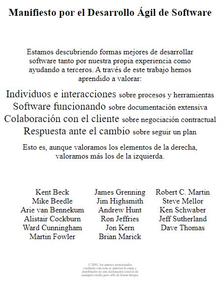 Manifiesto para el Desarrollo Ágil de Software