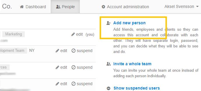 Adding users through People tab