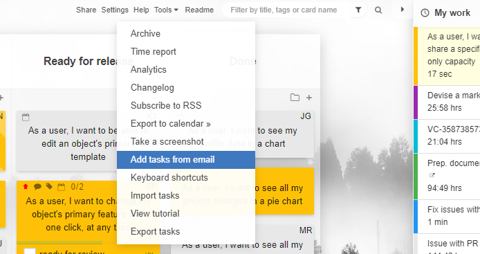 I want to add tasks via email to Kanban Tool