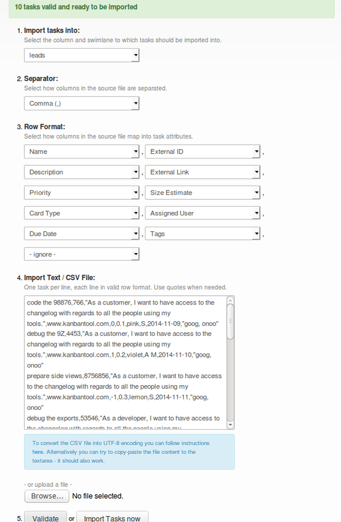 Kanban Tool Import CSV Options