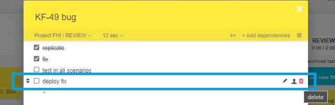 Checklist item options
