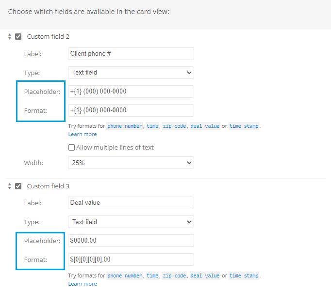 Custom data format settings
