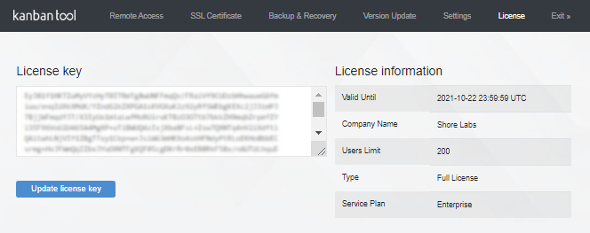 How to apply a new License Key to the On-Site installation?