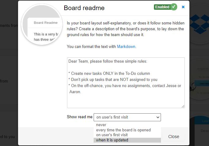 Board Readme Power-Up - Settings
