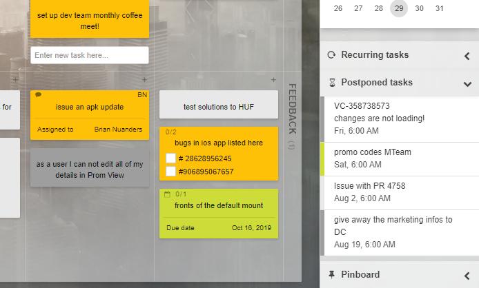 Postponed Tasks Widget
