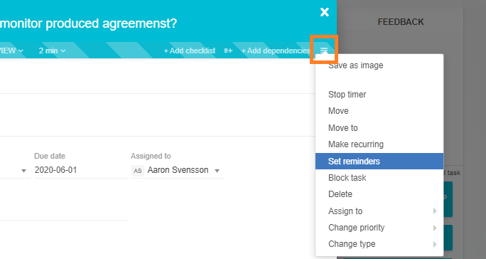 Set reminders in the open card context menu