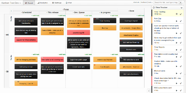 Software development kanban board with time tracking